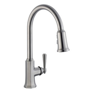 Design House 525683 Barcelona Kitchen Faucet with Pullout Sprayer, Satin Nickel