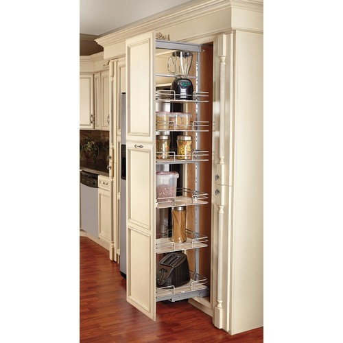 Rev a shelf 5273 14 mp extra tall pullout maple pantry for Pantry door shelving unit