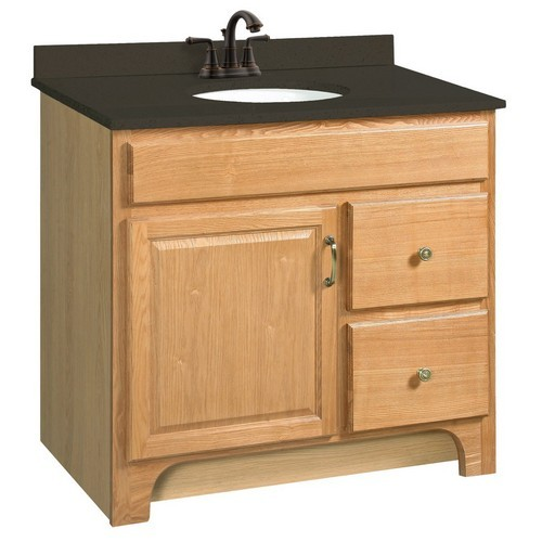 Design House 530402 Richland Nutmeg Oak Vanity Cabinet with 1-Door & 2-Drawers, 36 X 33-1/2