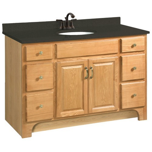 Design House 530410 Richland Nutmeg Oak Vanity Cabinet With 2 Doors And 4 Drawers 48 Inches By