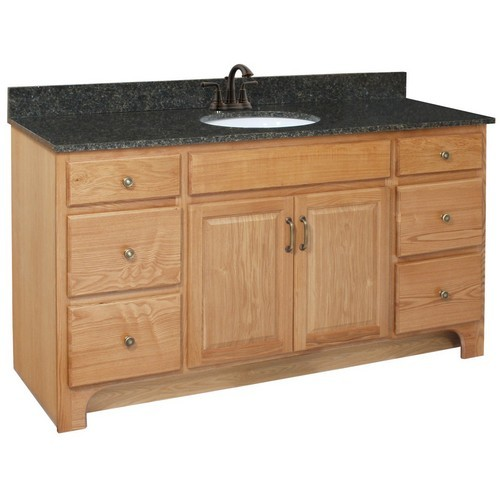 Design House 530436 Richland Nutmeg Oak Vanity Cabinet with 2-Doors & 4-Drawers, 60 X 33-1/2