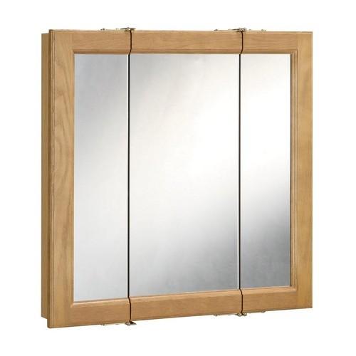 Design House 530550 Richland Nutmeg Oak Tri-View Medicine Cabinet Mirror with 3-Doors, 24 X 24