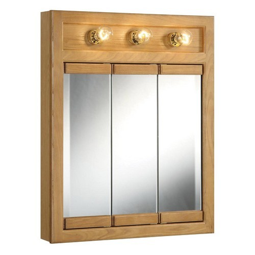 Design House 530592 Richland Nutmeg Oak Lighted Tri-View Wall Cabinet Mirror with 3-Doors, 24 X 30