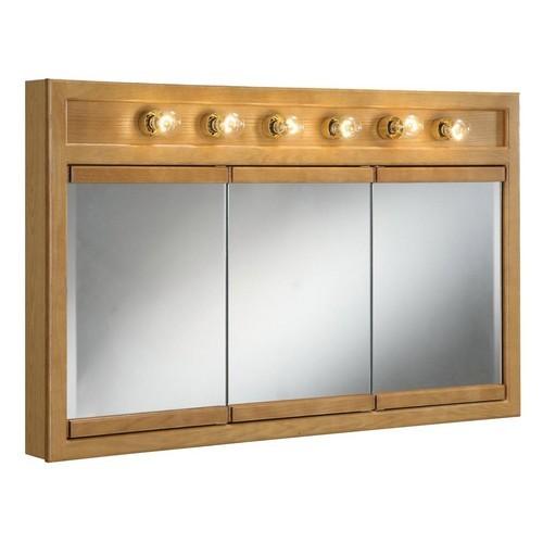 Design House 530626 Richland Nutmeg Oak 6-Light Tri-View Wall Cabinet, 48 X 30