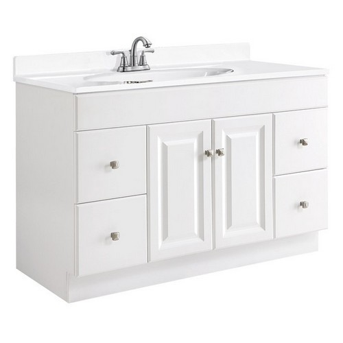 Design House 531145 Wyndham White Semi-Gloss Vanity Cabinet with 2-Doors & 4-Drawers, 48 X 21 X 31-1/2
