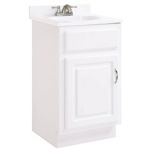 Design House 531244 Concord White Gloss Vanity Cabinet with 1-Door, 18 X 16 X 30