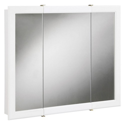 Design House 531434 Concord White Gloss Tri-View Medicine Cabinet Mirror with 3-Doors, 30 X 5-1/4 X 30