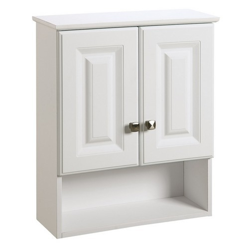 Design House 531715 Wyndham White Semi-Gloss Bathroom Wall Cabinet with 2-Doors & 1-Shelf, 22 X 8 X 26