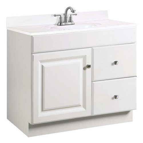 Design House 531806 Wyndham White Semi-Gloss Vanity Cabinet with 2-Door & 2-Drawers, 36 X 18 X 31-1/2