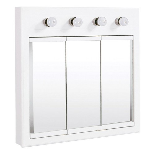 Design House 532382 Concord White Gloss Lighted Medicine Cabinet Mirror, 30 X 5 X 30