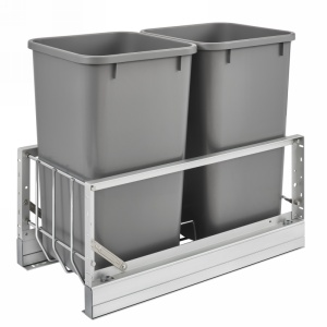 Rev-A-Shelf 5349-1527DM-217 Double 27 Qt. Pullout Waste Containers, Silver