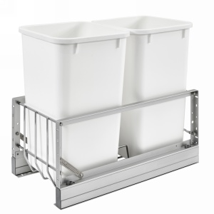 5349 Double 27 Quart Bottom Mount Waste Container Aluminum Rev-A-Shelf 5349-1527DM-2