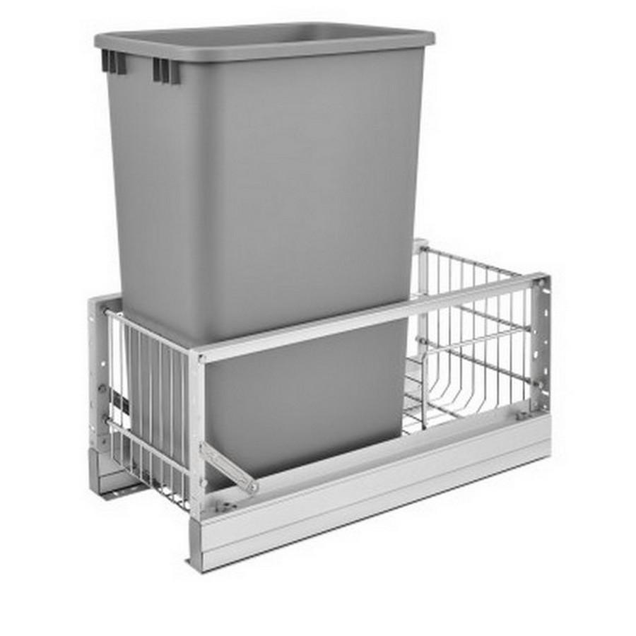 5349 Single 50 Quart Bottom Mount Waste Container Aluminum Rev-A-Shelf 5349-1550DM-117