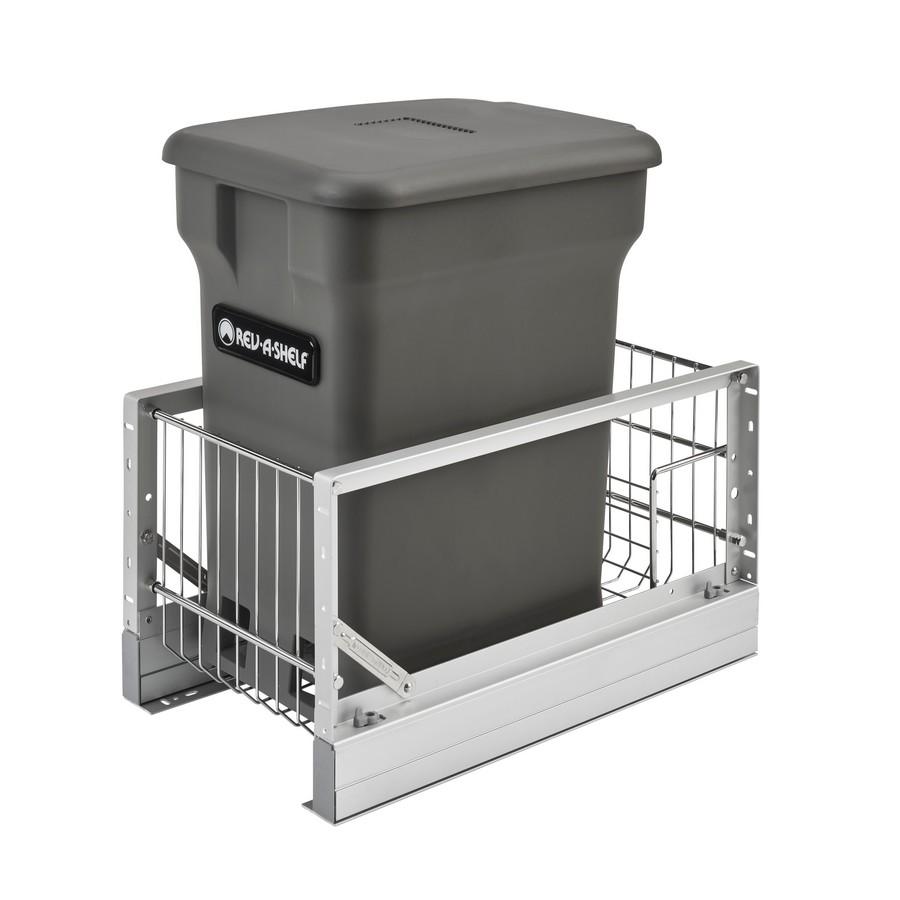 "Aluminum Bottom Mount Waste Pullout w/ Single Orion Gray 24 Qt. Compo + Container w/Soft-Close for 18"" Rev-A-Shelf 5349-15CKOG-1"
