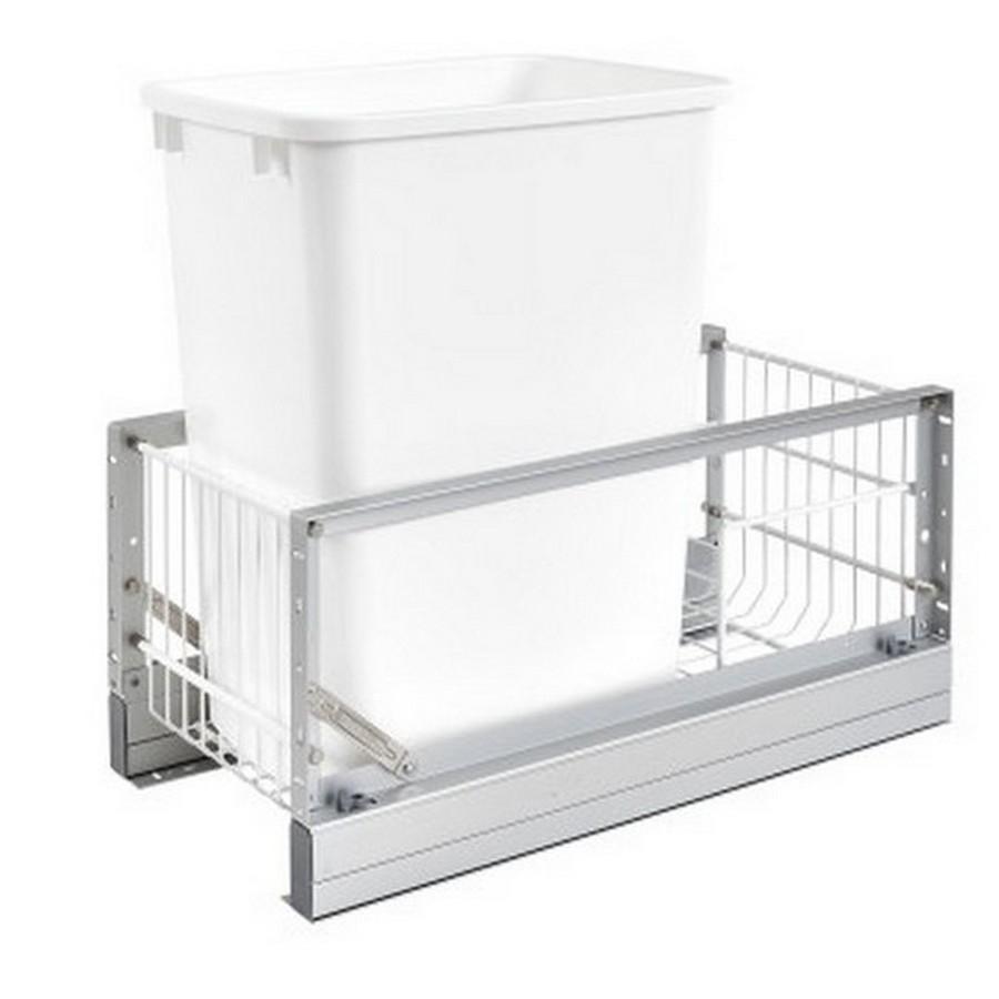 5349 Single 35 Quart Bottom Mount Waste Container Aluminum Rev-A-Shelf 5349-15DM-1