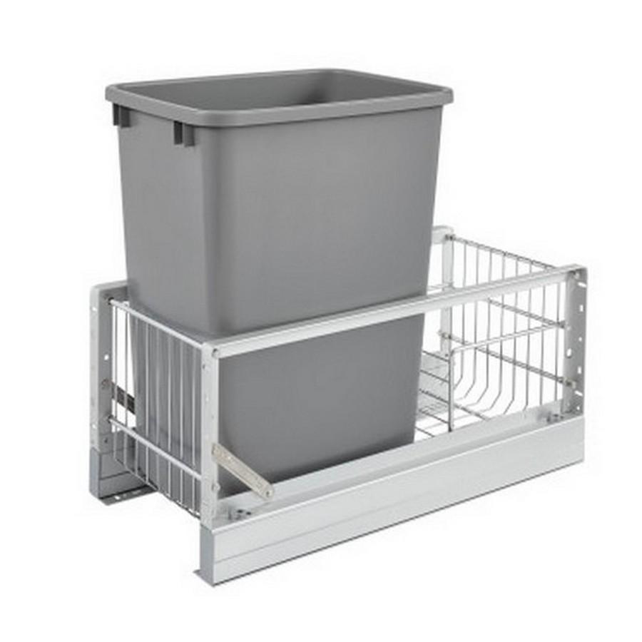 5349 Single 35 Quart Bottom Mount Waste Container Aluminum Rev-A-Shelf 5349-15DM-117