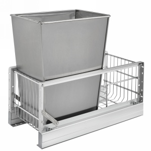 Rev-A-Shelf 5349-15DM-1SS 35 Qt. Pullout Waste Container, 18in Depth