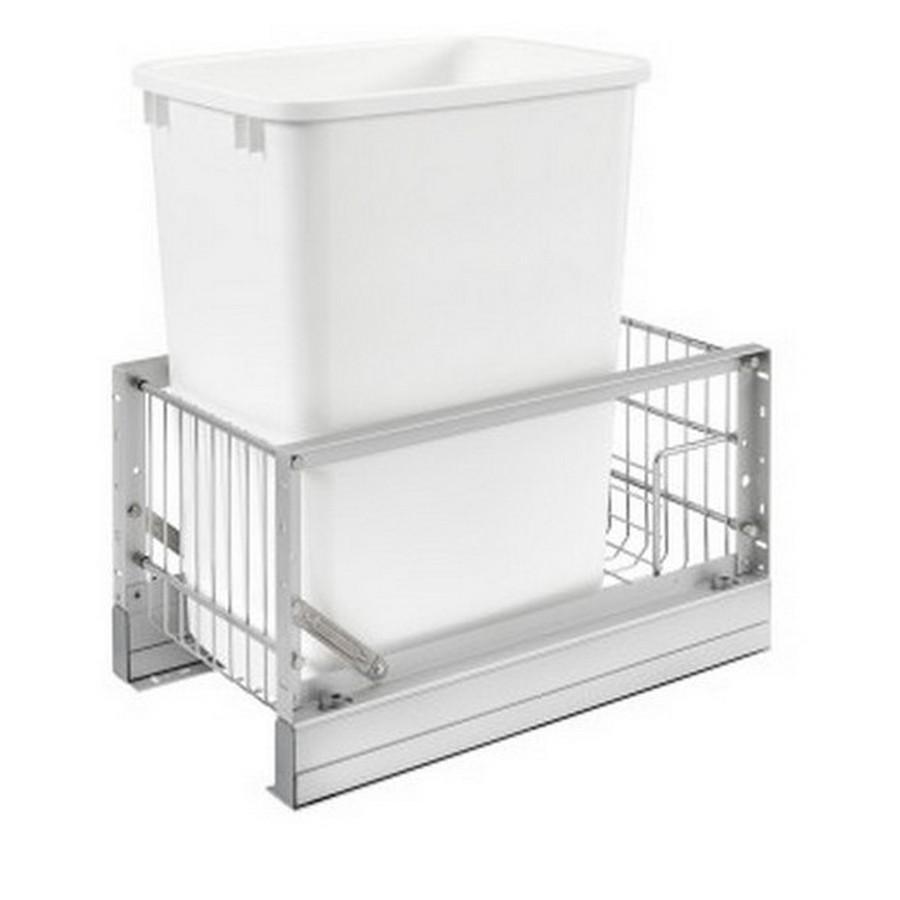 """5349 Single 35 Quart Bottom Mount Waste Container 18"""" Depth Aluminum Rev-A-Shelf 5349-15DM18-1"""