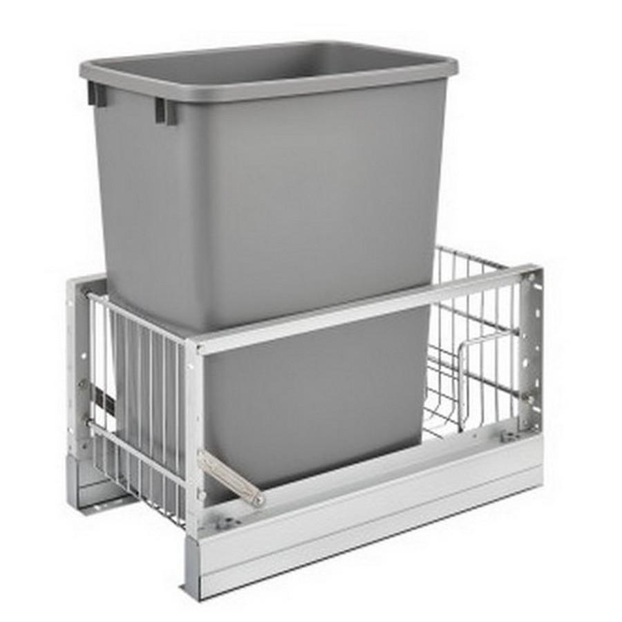 """5349 Single 35 Quart Bottom Mount Waste Container 18"""" Depth Aluminum Rev-A-Shelf 5349-15DM18-117"""