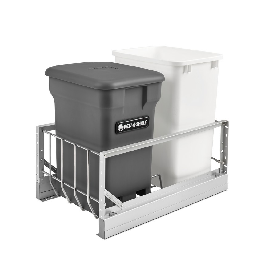 """Aluminum Bottom Mount Waste Pullout w/ Single Orion Gray 24 Qt. Compo + and Single White 35 Qt. Container w/Soft-Close for 18"""" Rev-A-Shelf 5349-18CKOG-2"""