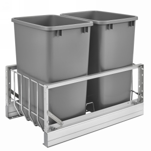 Rev-A-Shelf 5349-18DM-217 Double Trash Pull-Out 35 Qt., Bottom Mount, Silver
