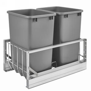 5349 Double 35 Quart Bottom Mount Waste Container Aluminum Rev-A-Shelf 5349-18DM-217