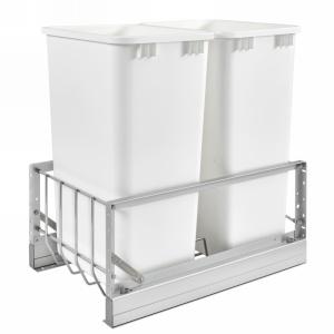 5349 Double 50 Quart Bottom Mount Waste Container Aluminum Rev-A-Shelf 5349-2150DM-2