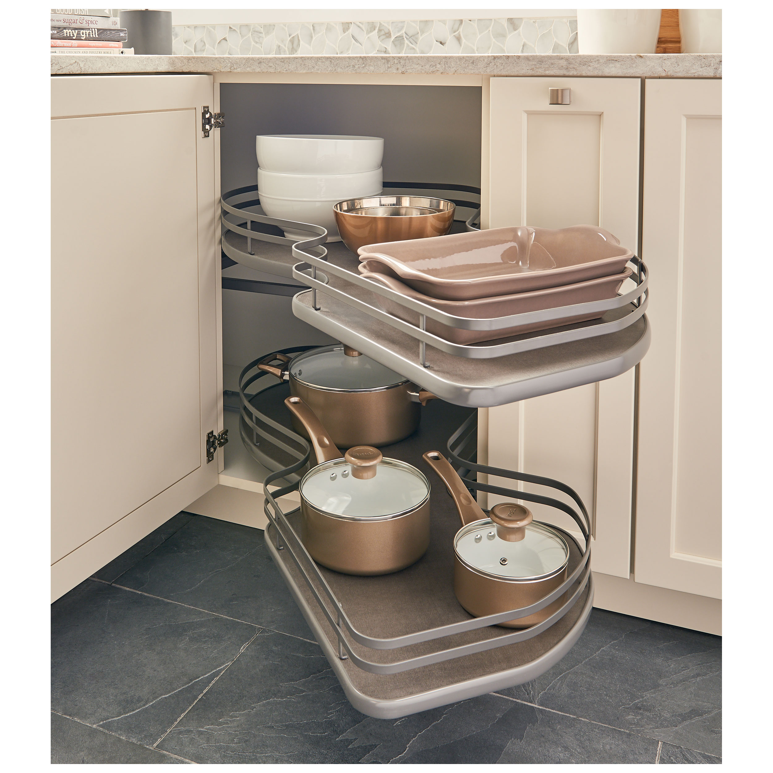 Rev A Shelf 5372 18 Fog R The Cloud 18 Blind Corner Pull Out Double Tier Orion Gray Right Hand