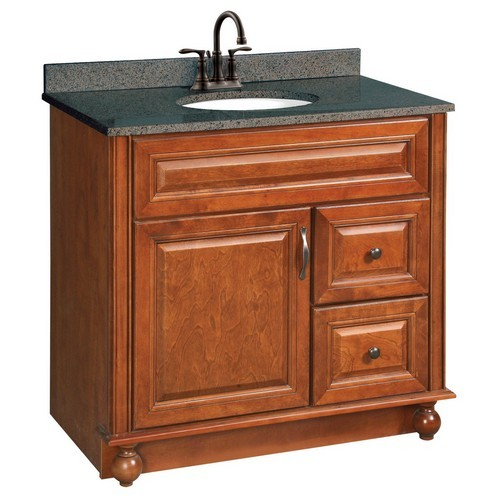 Design House 538553 Montclair Chestnut Glaze Vanity Cabinet with 1-Door & 2-Drawers, 36 X 33-1/2