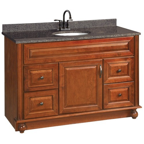 Design House 538561 Montclair Chestnut Glaze Vanity Cabinet with 1-Door & 4-Drawers, 48 X 21