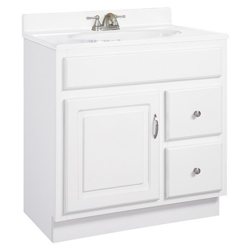 Design House 541037 Concord White Gloss Vanity Cabinet with 1-Door & 2-Drawers, 30 X 21 X 30