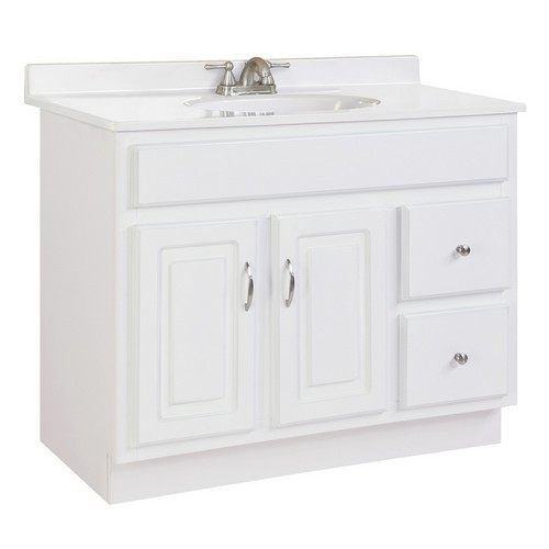 Design House 541052 Concord White Gloss Vanity Cabinet with 2-Doors & 2-Drawers, 36 X 21 X 30
