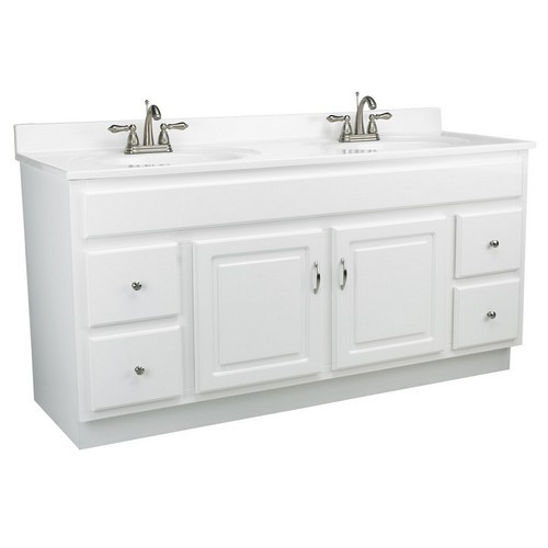 Design House 541078 Concord White Gloss Vanity Cabinet with 2-Doors & 4-Drawers, 60 X 21 X 30