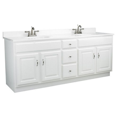 Design House 541086 Concord White Gloss Vanity Cabinet with 4-Doors & 3-Drawers, 72 X 21 X 30