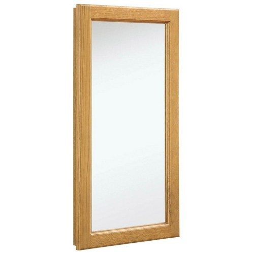 Design House 541193 Richland Nutmeg Oak Medicine Cabinet Mirror with 1-Door & 2-Shelves, 16 X 30