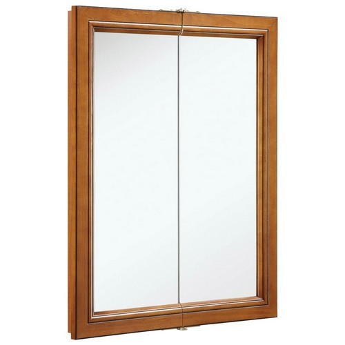 Design House 541383 Montclair Chestnut Glaze Double Door Medicine Cabinet Mirror with Solid Wood Frame, 24 X 30