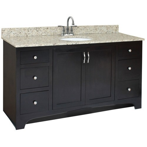 Design House 541433 Ventura Espresso Vanity Cabinet with 2-Doors & 4-Drawers, 60 X 21