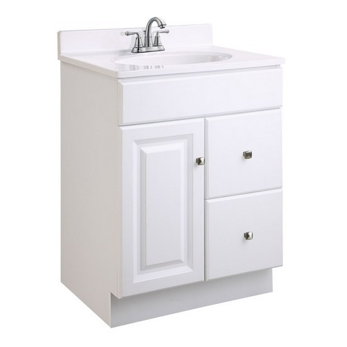 Design House 545004 Wyndham White Semi-Gloss Vanity Cabinet with 1-Door & 2-Drawers, 24 X 18 X 31-1/2