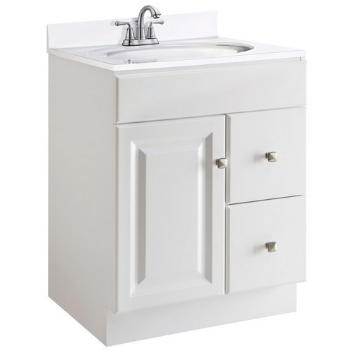 Design House 545053 Wyndham White Semi-Gloss Vanity Cabinet with 1-Door & 2-Drawers, 24 X 21 X 31-1/2