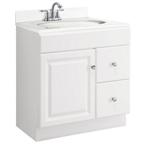 Design House 545061 Wyndham White Semi-Gloss Vanity Cabinet with 1-Door & 2-Drawers, 30 X 18 X 31-1/2