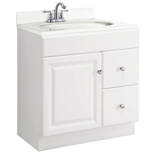 Design House 545079 Wyndham White Semi-Gloss Vanity Cabinet with 1-Door & 2-Drawers, 30 X 21 X 31-1/2