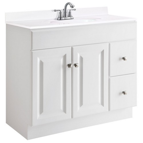 Design House 545095 Wyndham White Semi-Gloss Vanity Cabinet with 2-Doors & 2-Drawers, 36 X 21 X 31-1/2