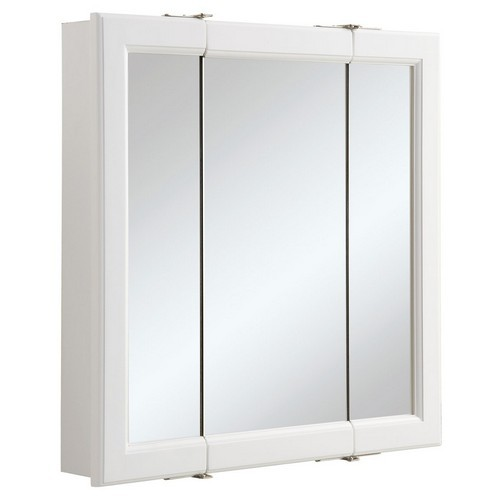 Design House 545129 Wyndham White Semi-Gloss Tri-View Medicine Cabinet Mirror with 3-Doors, 24 X 4-3/4 X 24