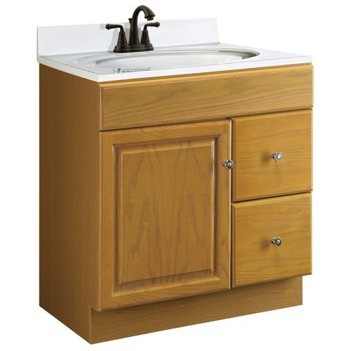 Design House 545152 Claremont Honey Oak Vanity Cabinet With 1 Door And 2 Drawers 30 Inches By