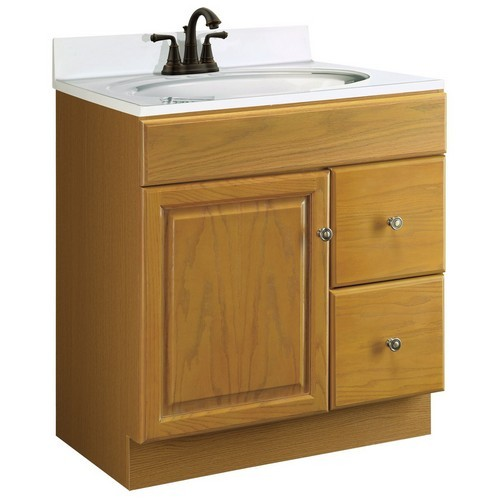 Design House 545160 Claremont Honey Oak Vanity Cabinet With 1 Door And 2 Drawers 30 Inches By