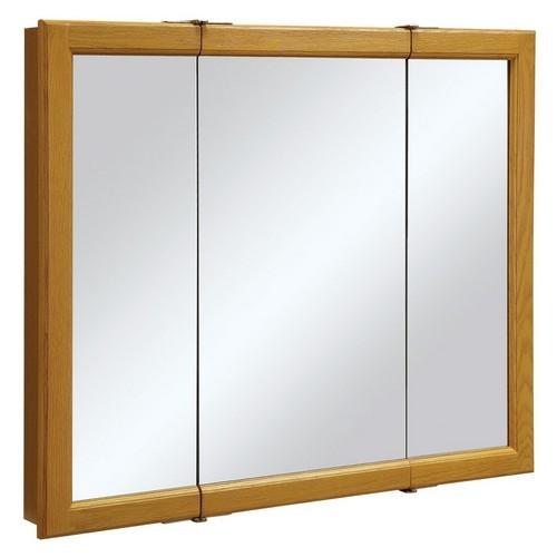Design House 545285 Claremont Honey Oak Tri-View Medicine Cabinet Mirror with 3-Doors, 36 X 30