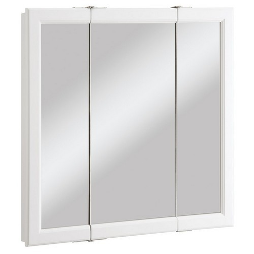 Design House 545293 Wyndham White Semi-Gloss Tri-View Medicine Cabinet Mirror with 3-Doors, 30 X 4-3/4 X 30