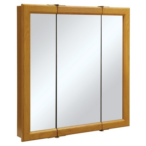Design House 545301 Claremont Honey Oak Tri-View Medicine Cabinet Mirror with 3-Doors, 30 X 30