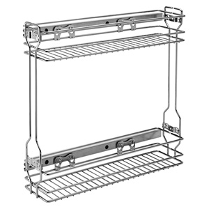 Rev-A-Shelf 548-06CR-1, 5-1/2 W Chrome Wire Two-Tier Base Organizer Pull-Out, Side Mount Slides