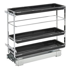Rev-A-Shelf 548-BC-8C, 7-7/8 W Base Cabinet Organizer, Chrome Wire with Plastic Shelves